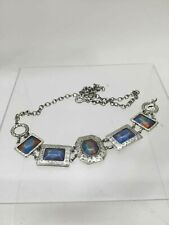 Chico's Brushed Silvertone Faceted Mixed Media Chain Adjustable Belt Size Medium