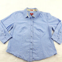 Talbots Petite Size 10P Stretch Poplin Button Up Blouse Blue Striped 3/4 Sleeve