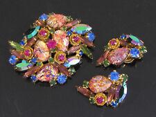 JULIANA D&E FOILED ART GLASS & RHINESTONE BROOCH & EARRINGS SET