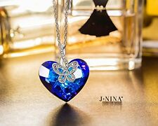 Women Jewelry Necklace Butterfly Love Swarovski Crystals Heart Blue Rotatable