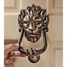 19th Century English Antique Replica Foundry Iron Heraldic Lion Door Knocker