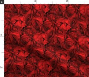 Flowers Red Floral Nature Victorian Rose Spoonflower Fabric by the Yard