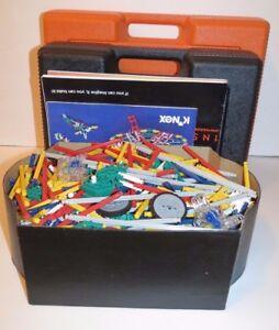 KNEX LOT ~  2 PLASTIC CARRY CASES ~ 3 INSTRUCTIONAL MANUALS ~ 7 POUNDS OF PIECES