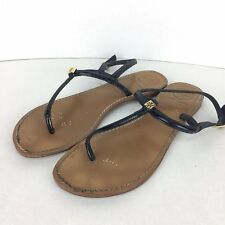 1299a4119f8b5e TORY BURCH T-STRAP FLAT THONG SANDALS SIZE 9 TAN BLACK BROWN LEATHER LOGO