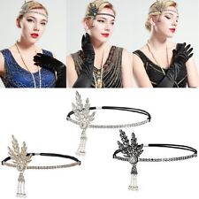 1920's Flapper Great Gatsby Leaf Pearl Headpiece Headband Hair Accessories