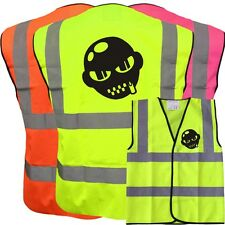 GIMP MASK FUNNY YELLOW HI VIZ VIS WAISTCOAT VEST SAFETY WORKWEAR STAG PARTY