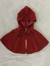 Red Gymboree wool cape with bow button closure girls size 18-24 months NWT