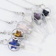 Natural Reiki Chakra Gemstone Crystal Healing Merkaba Hexagon Pendant Pendulum