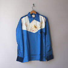 1950s Japanese Souvenir Shirt Korea Era Embroidered Dragon Satin Rayon Shirt NOS