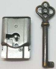 "Full Mortise Lock Skeleton Key 1-1/2"" X 1"" right antique vintage old desk drawer"