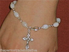 Bethlehem Single-Decade Chaplet Mother of Pearl Rosary Oval Beads Bracelet 20cm