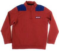 Vineyard Vines Shep Shirt Boys Size Large 16 Pullover 1/4 Zip Red Blue Whale