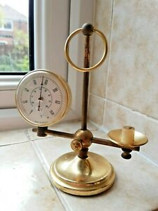 Vintage French Brass Desk Top Scientific Thermometer with Mini Candle