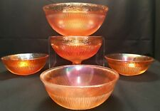 Antique Imperial Marigold Carnival Glass Prism & Daisy Master Berry Bowl Set Old