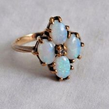 Vintage 14K Yellow Gold and Opal Ring with Small Center Diamond in Red Ring Box
