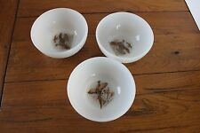 Fire King Cereal Bowls Grouse Pheasant Birds Set of 3