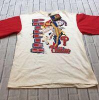 90s VTG nos PHILADELPHIA PHILLIES T Shirt Jersey COLORBLOCK Youth XL Adult S