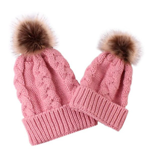 Matching mother daughter hats Mum and Baby Pom Pom hats, mom and baby Beanies