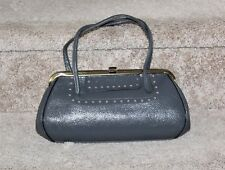 Vintage 1960's Grey Leather Handbag Purse Gold Tone Frame Clasp Paisley Interior