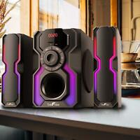 BEFREE SOUND 2.1 CHANNEL BLUETOOTH SPEAKER SHELF STEREO SYSTEM with LIGHTS USB
