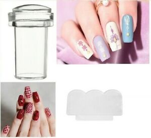 Nail Art Clear Jelly Head Silicone Stamper Scraper Transparent Stamping Transfer