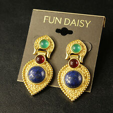 Costume Fashion Earrings Studs Green Red Blue Marine Baroque Vintage Style A6