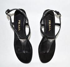 Prada Demi Wedge Thong Sandals Logo Sz 36 EU 6 US T-strap  Black Patent Leather