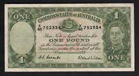 Australia R-32. (1952) One Pound - Coombs/Wilson.. King George VI..  gVF - Crisp