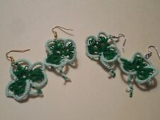 Tatted Shamrock Earrings 2 Sets Green & Mint Designed by Dove Country Tatting