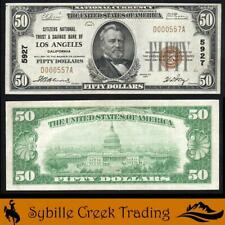 ATTRACTIVE 1929 $50 LOS ANGELES, CA NATIONAL BANK NOTE *FREE SHIPPING*