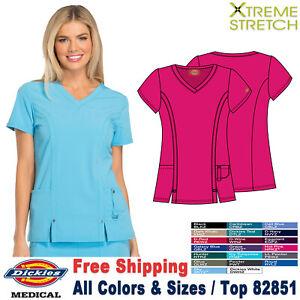Dickies Scrubs XTREME STRETCH Medical Uniform V Neck Shirt Top 82851