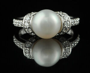 3.75Ct Round Cut Natural Freshwater Pearl With White Accents Ring In 14KT Gold