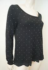 CLAUDIE PIERLOT noir coton modal soie argent perles Pull Sweater Sz3