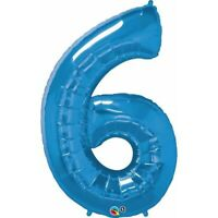 LARGE FOIL BALLOON NUMBER BLUE 6 BIRTHDAY PARTY SUPPLIES