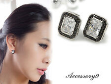 Micro pave rectangle black Cubic Zircon Wedding white gold plated Earrings A12