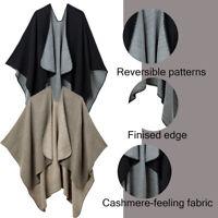 New Women Winter Wrap Shawl Open Front Poncho Cape Shawl Khaki/Black Warm Scarf
