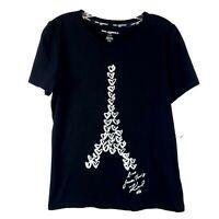 KARL LAGERFELD Paris Tee T-Shirt Silver Sequins Heart Eiffel Tower Womens size S