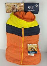 The Humane Society Dog Winter Jacket/Coat/Vest  Navy/Orange/Yellow puffer Medium