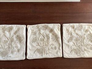 POTTERY BARN Pillow Covers, Lot of 3, Wheat Floral Crewel Embroidery Tan Beige