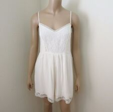 NWT Abercrombie Womens Lace Babydoll Romper Size Large Off-White