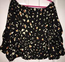 Halogen Women's Blouse Top Black Ruffled Sleeve Off Shoulder Floral Medium Nwt