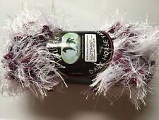Dark Horse Yarns Bliss #518 Sugar Plum Fancy Fur White Purple Pink Eyelash 100gr