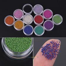 12 Colors Glitter Caviar mini Micro Beads tips 3D Nail Art Acrylic UV Gel Set