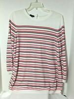 Talbots Womens Sweater Size Large White Navy Blue Red 3/4 Sleeve High Low