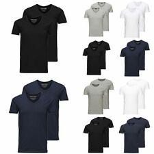 JACK & JONES Herren T-Shirt 2er Pack Basic O-Neck V-Neck Shirt S M L XL XXL