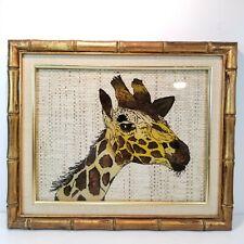 Giraffe Art Painting Reverse Painted On Glass Framed Woven Grass Safari Decor
