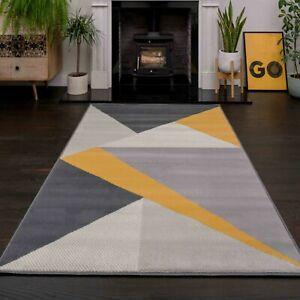 Modern Mustard Geometric Rug Small Large Yellow Grey Living Room Rugs Carpet Mat