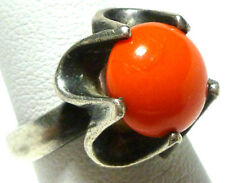 VINTAGE MEXICO STERLING SILVER CORAL CABOCHON MODERN MID CENTURY RING SIZE 4.75