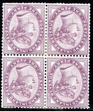 1881 Sg 172Wi 1d lilac (16 Dots) Inverted Watermark Block of 4 Mounted Mint