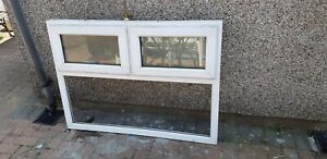 UPVC obscure pattern glass window. Fixed pane window with 2 top-hung sashes.